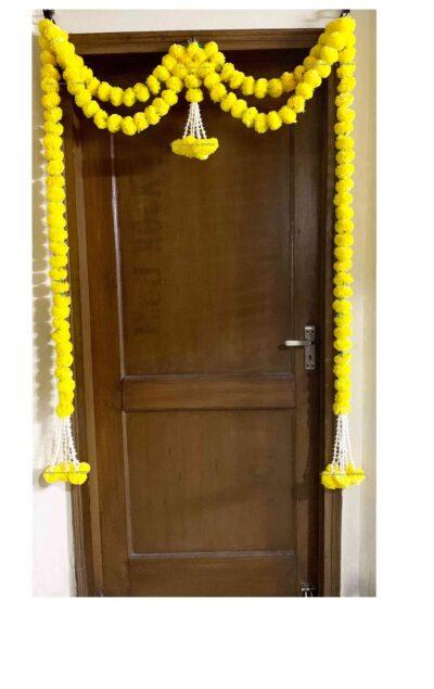 sphinx artificial marigold fluffy flowers big door toran yellow 335097 1