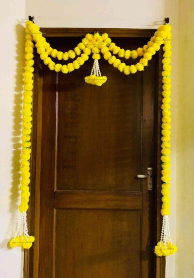 sphinx artificial marigold fluffy flowers big door toran yellow 335097 2