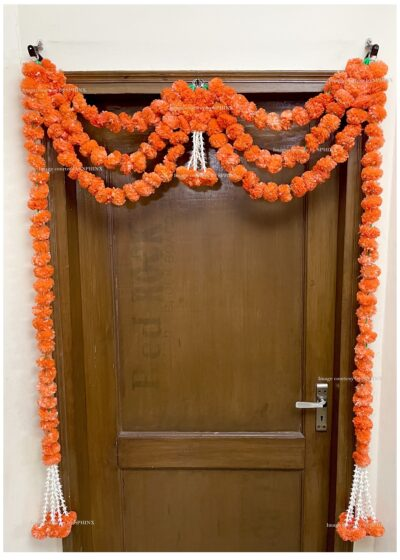 Sphinx artificial marigold fluffy flowers and rajnigandha buds triple line big door toran dark orange 2