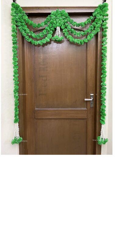 Sphinx artificial marigold fluffy flowers and rajnigandha buds triple line big door toran green 1