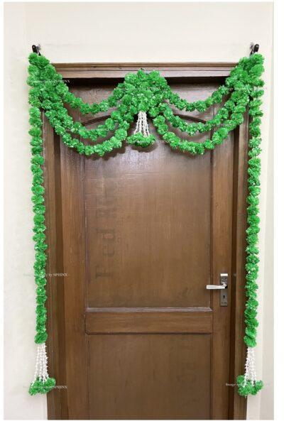 Sphinx artificial marigold fluffy flowers and rajnigandha buds triple line big door toran green 2