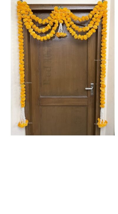 Sphinx artificial marigold fluffy flowers and rajnigandha buds triple line big door toran light orange 1