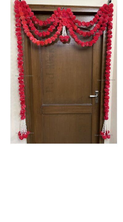 Sphinx artificial marigold fluffy flowers and rajnigandha buds triple line big door toran red 1