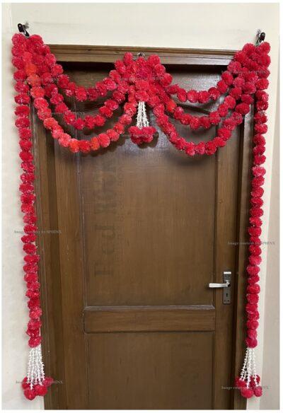Sphinx artificial marigold fluffy flowers and rajnigandha buds triple line big door toran red 2