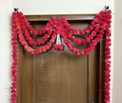 Sphinx artificial marigold fluffy flowers and rajnigandha buds triple line big door toran red 3