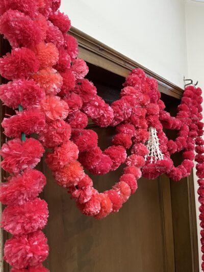 Sphinx artificial marigold fluffy flowers and rajnigandha buds triple line big door toran red 4