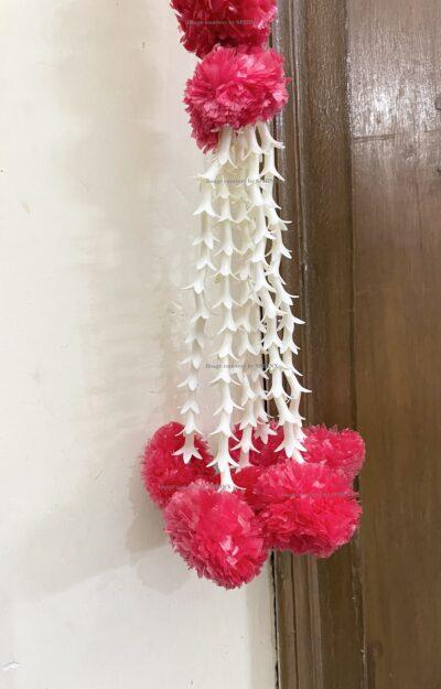 Sphinx artificial marigold fluffy flowers and rajnigandha buds triple line big door toran red 5