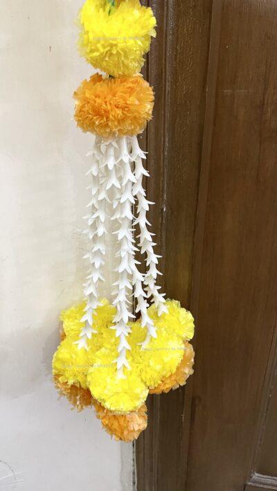 Sphinx artificial marigold fluffy flowers and rajnigandha buds triple line big door toran yellow and light orange 6