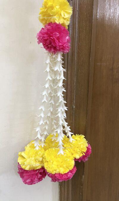 Sphinx artificial marigold fluffy flowers and rajnigandha buds triple line big door toran yellow and rani 6
