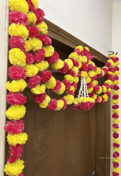 Sphinx artificial marigold fluffy flowers and rajnigandha buds triple line big door toran yellow and red 5