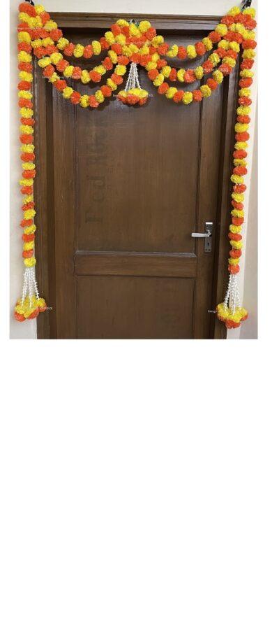 Sphinx artificial marigold fluffy flowers and tuberose rajnigandha triple line door toran 1