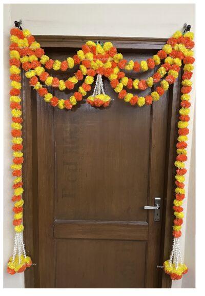 Sphinx artificial marigold fluffy flowers and tuberose rajnigandha triple line door toran 2