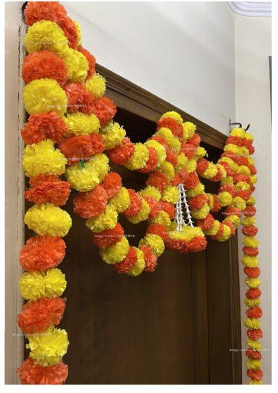 Sphinx artificial marigold fluffy flowers and tuberose rajnigandha triple line door toran 4