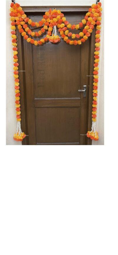 Sphinx artificial marigold fluffy flowers and tuberose rajnigandha triple line door toran light and dark orange 1
