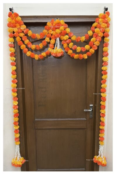 Sphinx artificial marigold fluffy flowers and tuberose rajnigandha triple line door toran light and dark orange 2