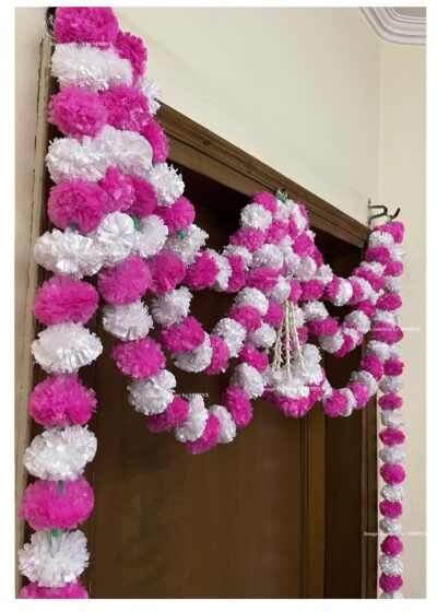 Sphinx artificial marigold fluffy flowers and tuberose rajnigandha triple line door toran white and baby pink 4