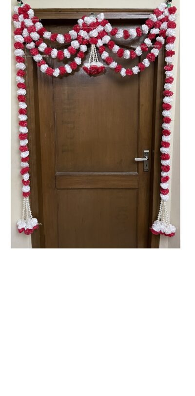 Sphinx artificial marigold fluffy flowers and tuberose rajnigandha triple line door toran white and red 1