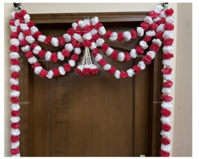 Sphinx artificial marigold fluffy flowers and tuberose rajnigandha triple line door toran white and red 3