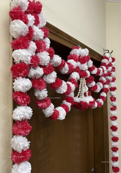 Sphinx artificial marigold fluffy flowers and tuberose rajnigandha triple line door toran white and red 4