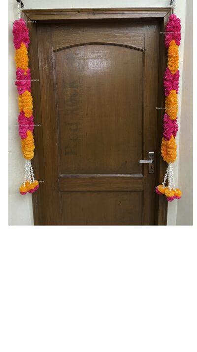 Sphinx artificial marigold fluffy flowers rope design garlands pack of 2 – light orange and dark pink 1