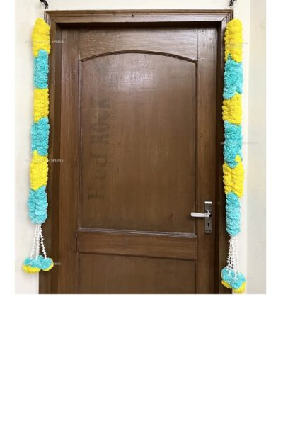 Sphinx artificial marigold fluffy flowers rope design garlands pack of 2 – yellow and sky blue 1