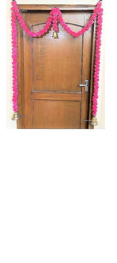 Sphinx artificial marigold fluffy flowers single line door toran rani dark pink 1