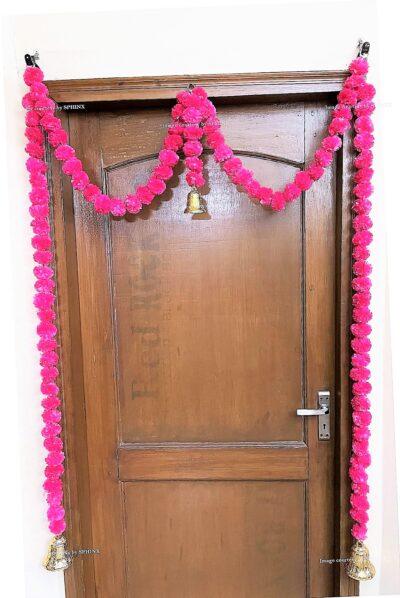 Sphinx artificial marigold fluffy flowers single line door toran rani dark pink 2