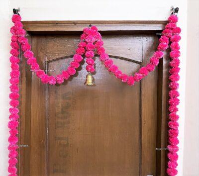 Sphinx artificial marigold fluffy flowers single line door toran rani dark pink 3