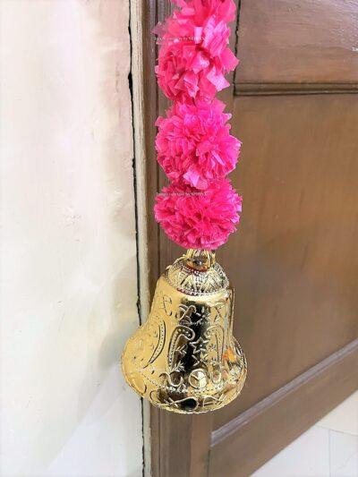 Sphinx artificial marigold fluffy flowers single line door toran rani dark pink 5