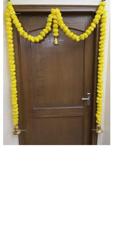Sphinx artificial marigold fluffy flowers single line door toran yellow 1