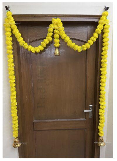 Sphinx artificial marigold fluffy flowers single line door toran yellow 2