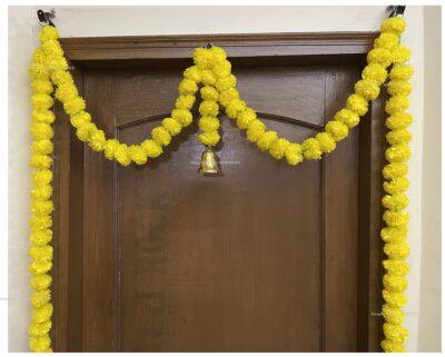 Sphinx artificial marigold fluffy flowers single line door toran yellow 3
