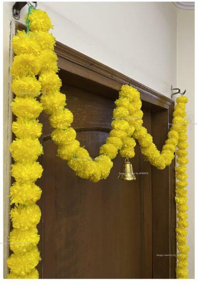 Sphinx artificial marigold fluffy flowers single line door toran yellow 5