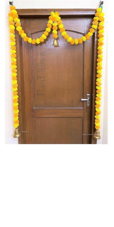 Sphinx artificial marigold fluffy flowers single line door toran yellow and light orange 1
