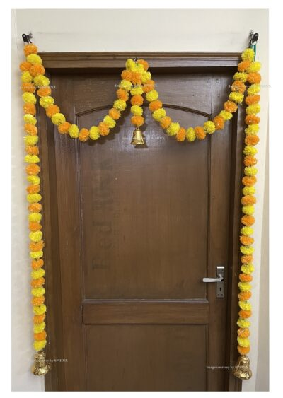 Sphinx artificial marigold fluffy flowers single line door toran yellow and light orange 2