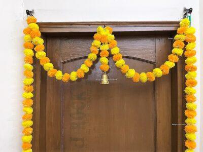 Sphinx artificial marigold fluffy flowers single line door toran yellow and light orange 3