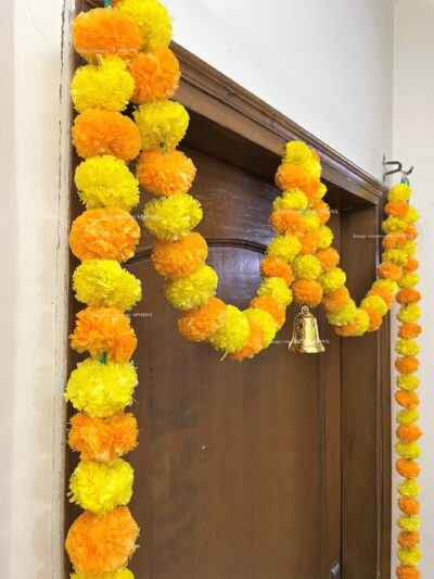 Sphinx artificial marigold fluffy flowers single line door toran yellow and light orange 4