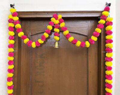 Sphinx artificial marigold fluffy flowers single line door toran yellow and rani dark pink 3