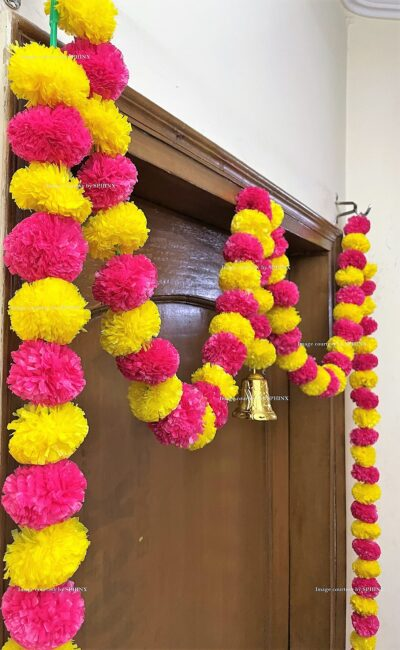 Sphinx artificial marigold fluffy flowers single line door toran yellow and rani dark pink 4