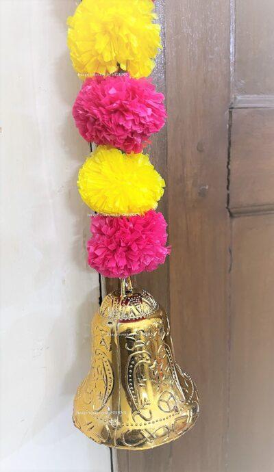 Sphinx artificial marigold fluffy flowers single line door toran yellow and rani dark pink 5