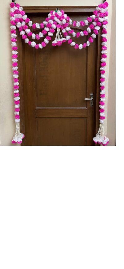 sphinx artificial fluffy marigold and tuberose rajnigandha triple line door toran white and baby pink 1