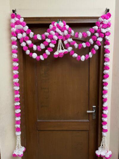 sphinx artificial fluffy marigold and tuberose rajnigandha triple line door toran white and baby pink 2