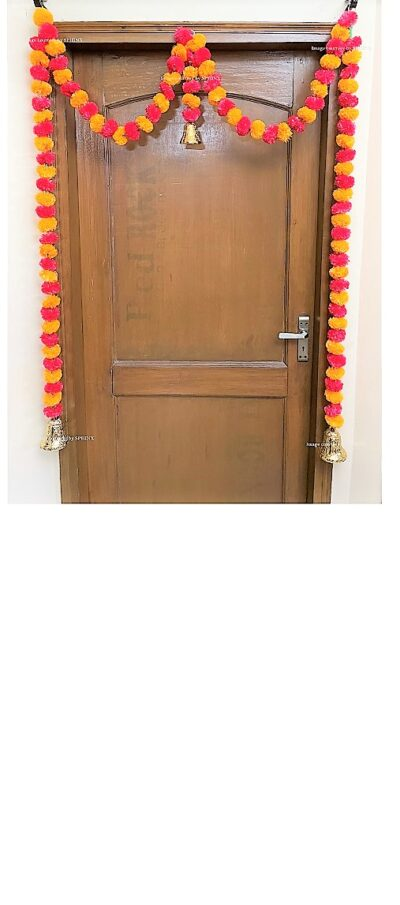 Sphinx artificial marigold fluffy flowers single line door toran light orange and red 1