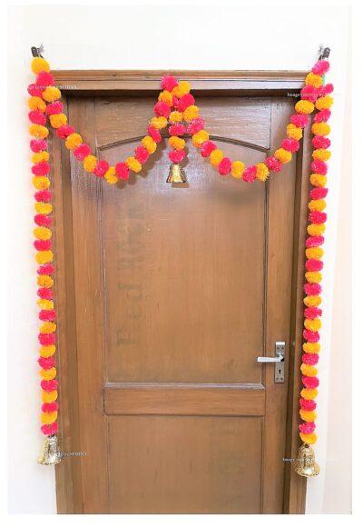 Sphinx artificial marigold fluffy flowers single line door toran light orange and red 2