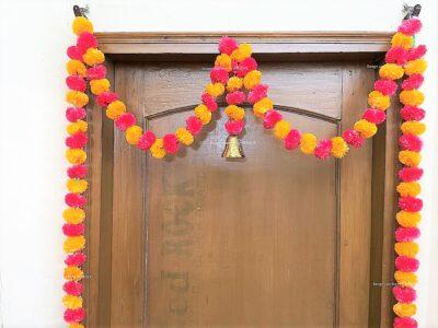 Sphinx artificial marigold fluffy flowers single line door toran light orange and red 3