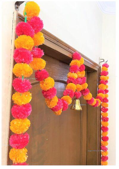 Sphinx artificial marigold fluffy flowers single line door toran light orange and red 4