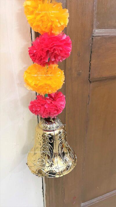 Sphinx artificial marigold fluffy flowers single line door toran light orange and red 5