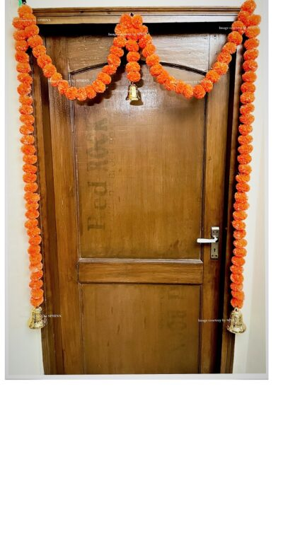 Sphinx artificial marigold fluffy flowers single line door toran set with bell dark orange 1