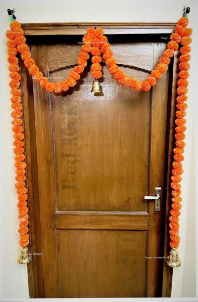 Sphinx artificial marigold fluffy flowers single line door toran set with bell dark orange 2