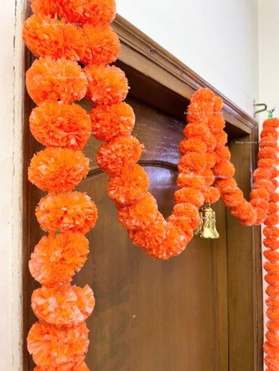 Sphinx artificial marigold fluffy flowers single line door toran set with bell dark orange 4